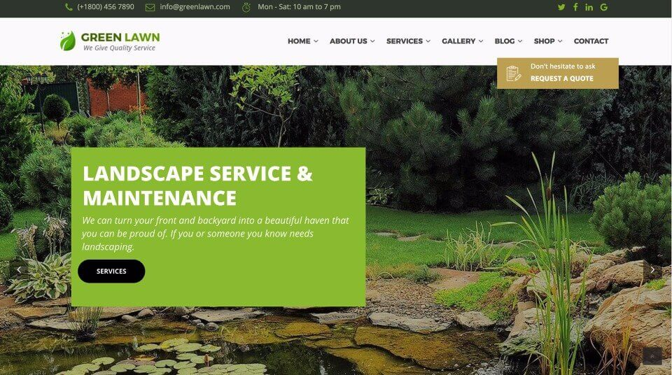 Small Business Website Design for Landscaping Business