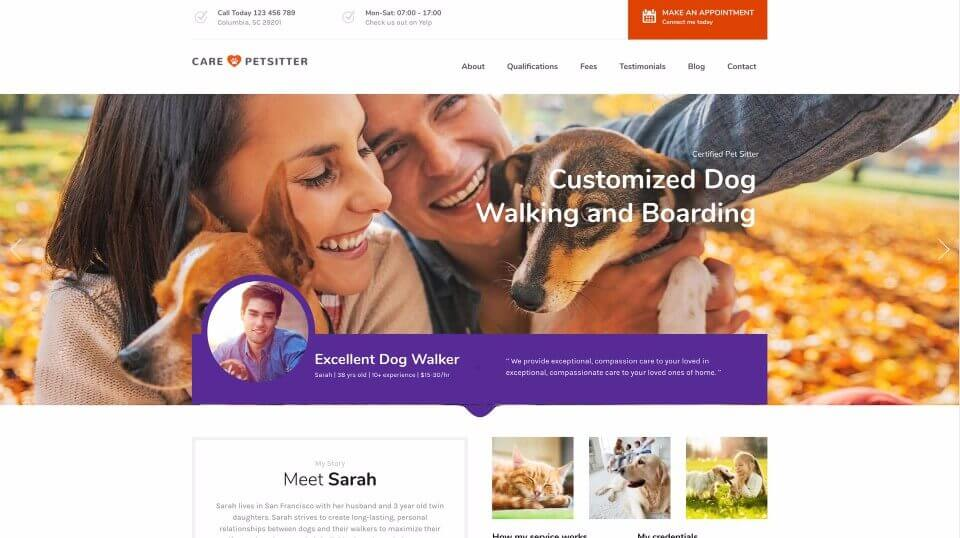 Pet Care Service Web Design